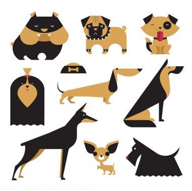 Cute vector illustration of various dog breeds clip art vector