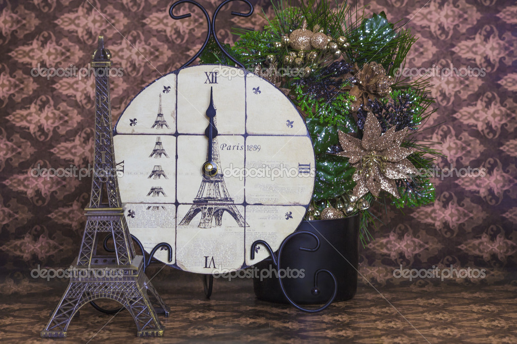 New years clock showing midnight on brown background stock photo new years clock showing midnight on brown background stock photo gumiabroncs Image collections