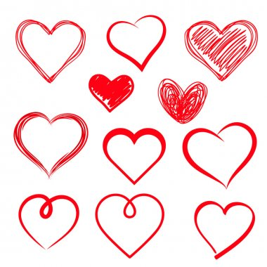 Vector hearts set. Hand drawn. stock vector