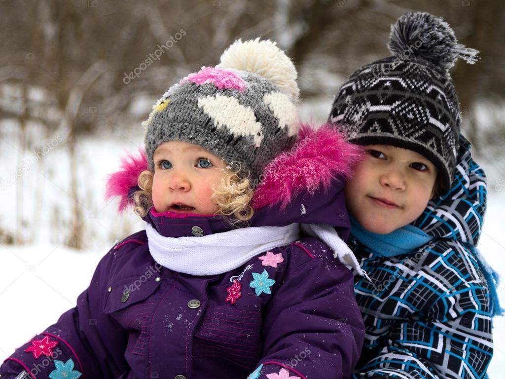 Children on a winter walk