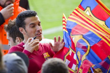 Pedro at FC Barcelona training session