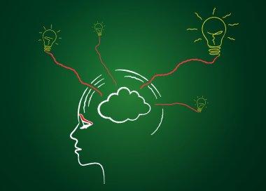 Brainstorming ideas on blackboard