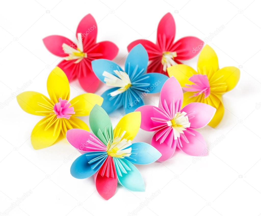 Seven colored paper flowers and flower with varicolored petals seven colored paper flowers and flower with varicolored petals stock photo mightylinksfo