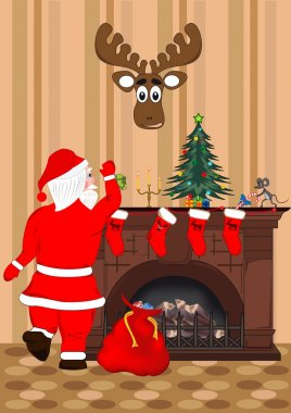 Santa Claus puts presents in Christmas socks