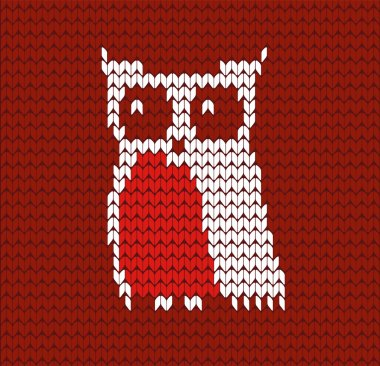 Knitted owl sweater background