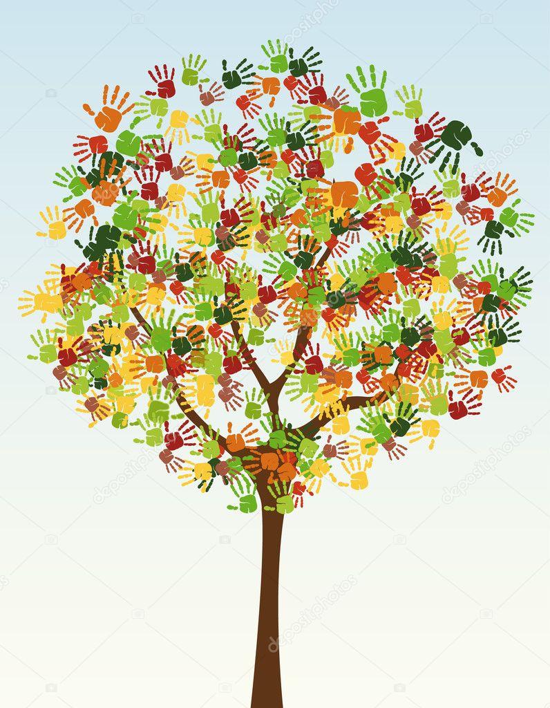 Handprints stock vectors royalty free handprints illustrations a tree of child handprints stock vector izmirmasajfo