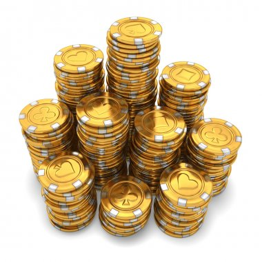 Large group of gold casino chips on white