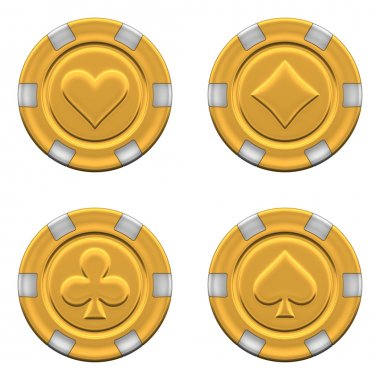 Sets of 3d rendered gold casino chips
