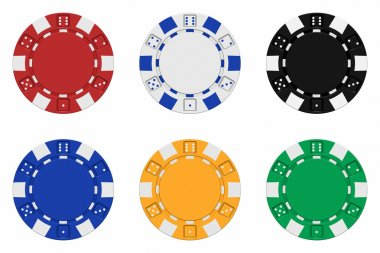 Sets of 3d rendered colored casino chips