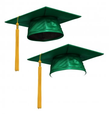 3D render of green graduation cap