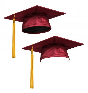 3D render of red graduation cap