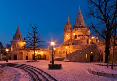 Winter scene of the Fisherman's Bastion in Budapest