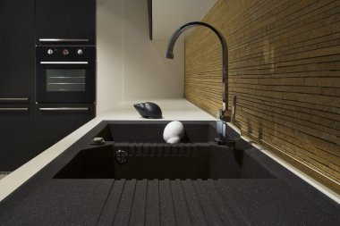 Modern kitchen with black sink