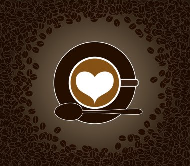 Cup of cappuccino with heart shape pattern surrounded by cofee b