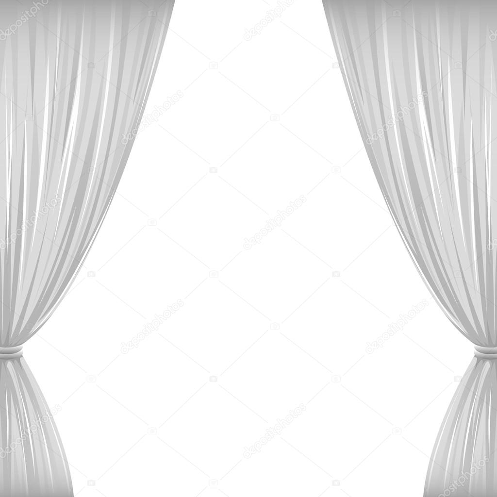 A Pair Of White Drapes On White With Copy Space. U2014 Vector By AvelKrieg