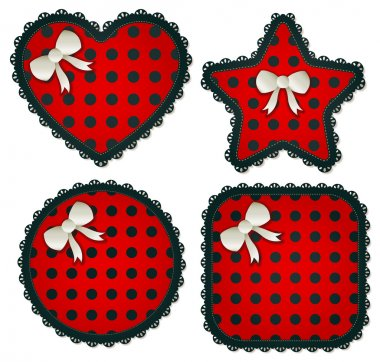 Red Polka Dot Sewing Patch Set