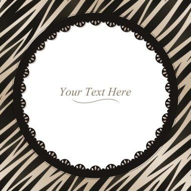 Round Zebra Print Frame
