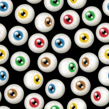 A Halloween themed background depicting different colored eyeballs. Seamlessly repeatable. stock vector