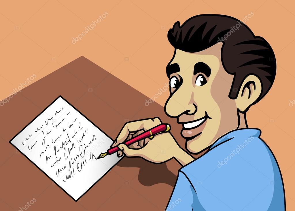 Hombre de escritura vector de stock willierossin 23459122 - Escritorio para escribir ...