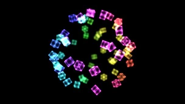 světlé otočné kostky - smyčky duha