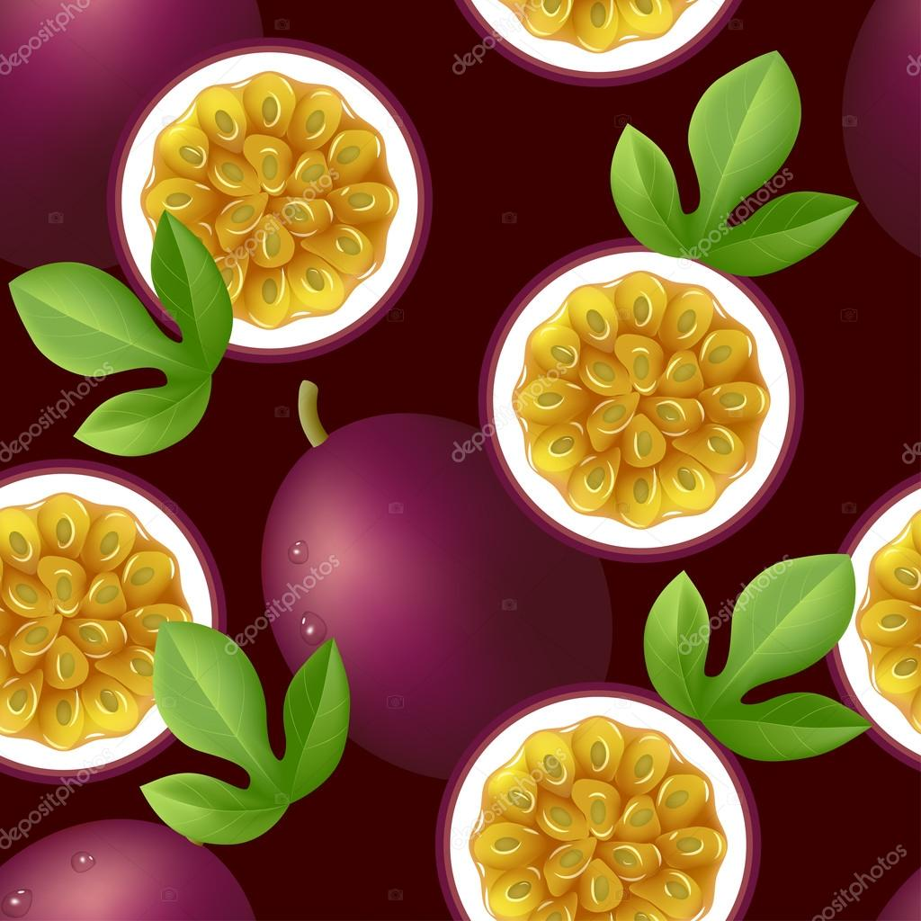 Fruity texture with passion fruit on dark purple background. Vector illustration. clipart vector