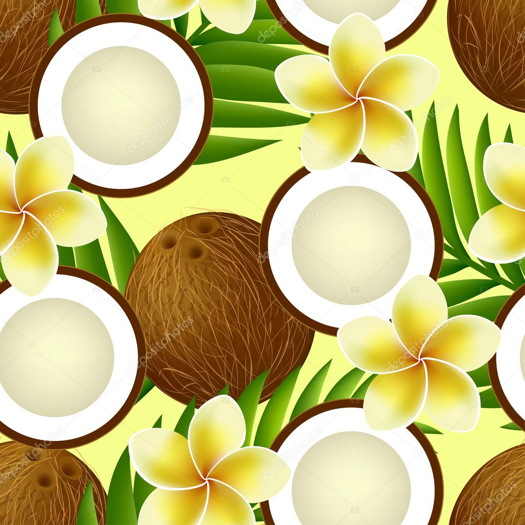 Tropical seamless pattern with coconut, palm leaves and flowers
