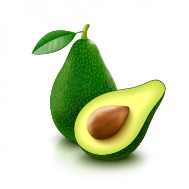 Avocado with slice on white background