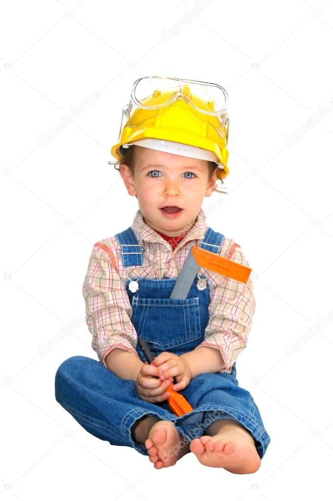 456648513e9 Baby worker with hat and tools isolated in white — Photo by luislouro