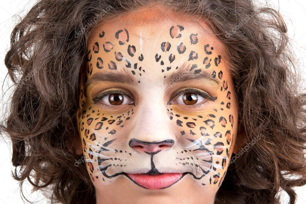 pintura facial leopardo fotografias de stock luislouro 37775987. Black Bedroom Furniture Sets. Home Design Ideas