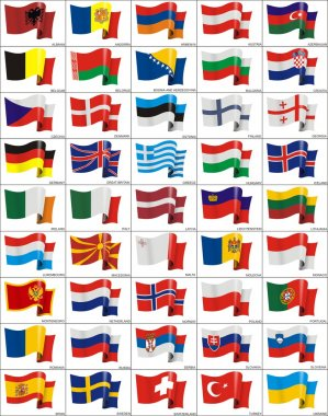 Waving flags of the European countries