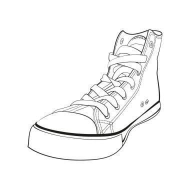 Black and white gumshoes. Isolated on white concept vector sneak
