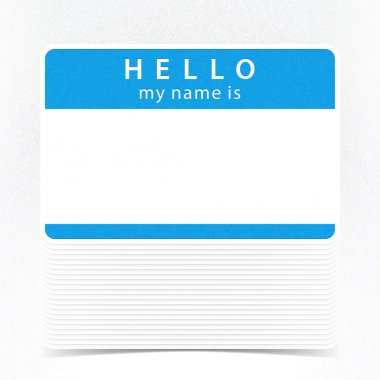 Blue color name tag HELLO my name is.