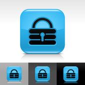 Modrý lesklý web pojistku s černou přidat znamení. zaoblený tvar ikona s stín a reflexe na bílé, šedé a černé pozadí