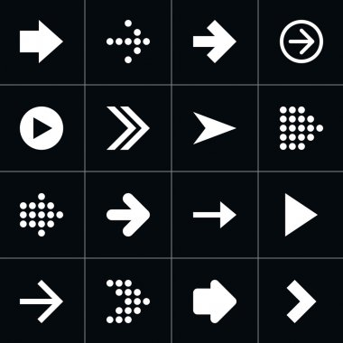 16 arrow sign pictogram set.