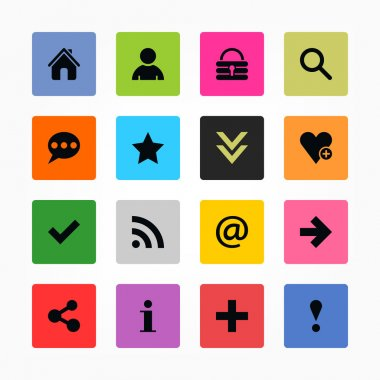 16 popular colors icon with basic sign. Simple rounded square shape internet button on gray background.