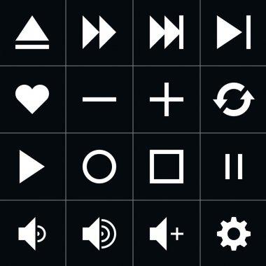 16 media player white pictogram control button sign set