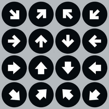 Arrow icon set solid, plain, monochrome color web sign. Simple minimal circle shape button on gray background.