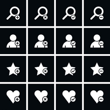 Loupe, user profile, star favorite, heart bookmark icon with plus, delete, check mark and minus sign. Black square internet button on black background. clip art vector