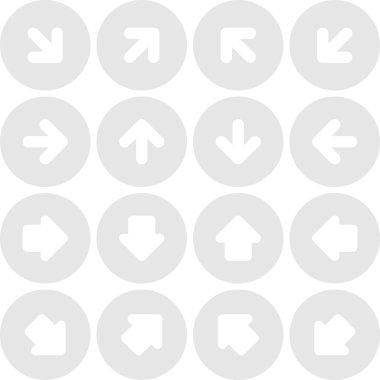 Arrow icon set solid, plain, monochrome color web sign. Simple minimal circle button on gray background.