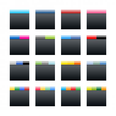 Simple popular social networks icon. Black square shape internet button with popular colors striped lines on white background.