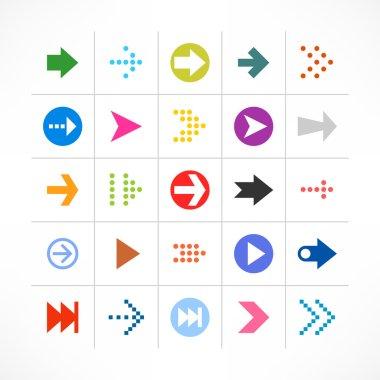 25 arrow sign pictogram set.