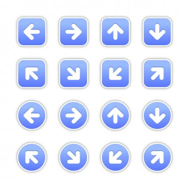 Blue stickers with arrow sign
