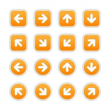Orange stickers with arrow sign