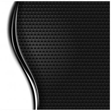 Metal perforated seamless texture. White and black dotted surface background with dark chrome metal strip.