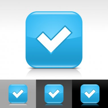 Blue glossy web button with black check mark sign. Rounded square shape icon with shadow, reflection on white, gray, black background.