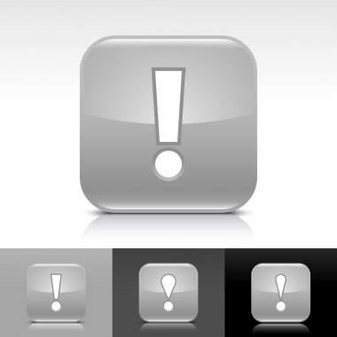 Gray glossy web button with white exclamation mark sign