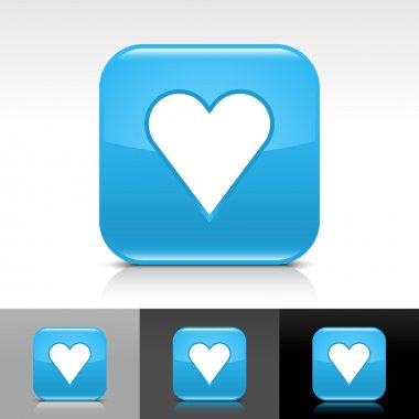 Blue glossy web internet button with heart sign
