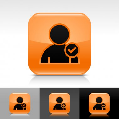 Orange glossy web button with black user profile sign. Rounded square shape icon with reflection, shadow on white, gray, black backgrounds with check mark glyph
