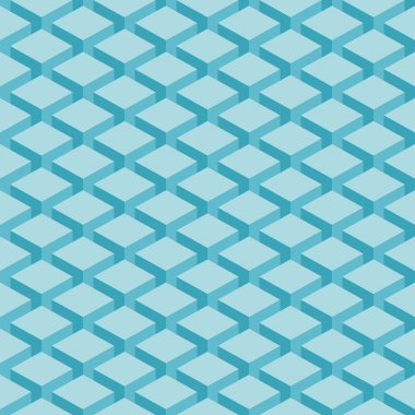 Seamless pattern blue background. Surface with 3-D effect cubes in perspective. Old retro wallpaper with repetition geometric shape.