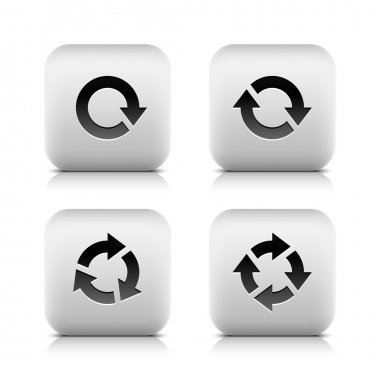 4 glossy button with black arrow pictogram refresh reload rotation loop sign set